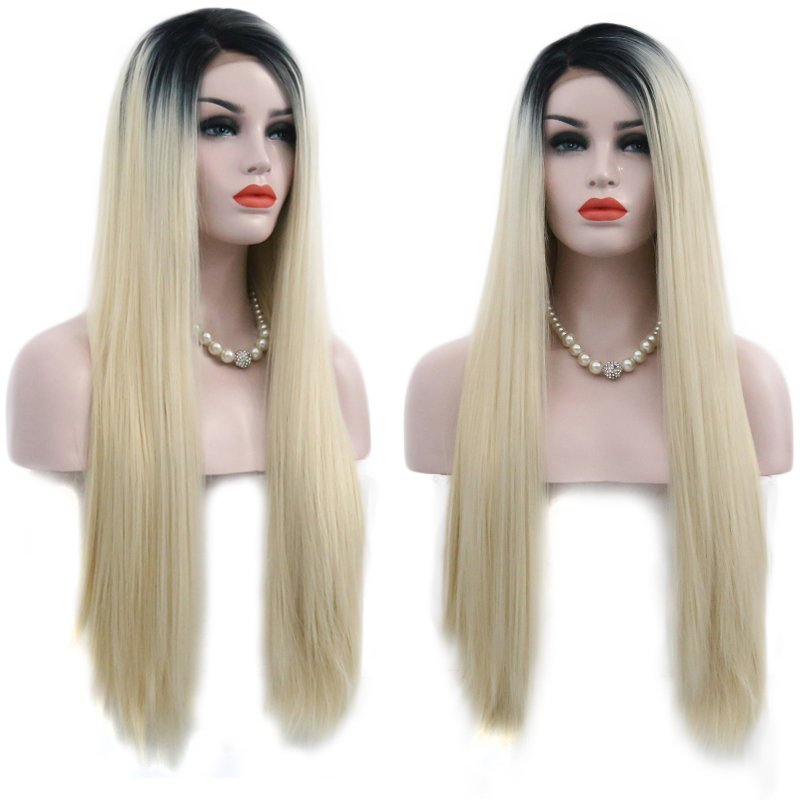 Charisma Ombre Blonde Wig Glueless Synthetic Lace Front Wig High Temperature Hair 26 Inch Long Straight