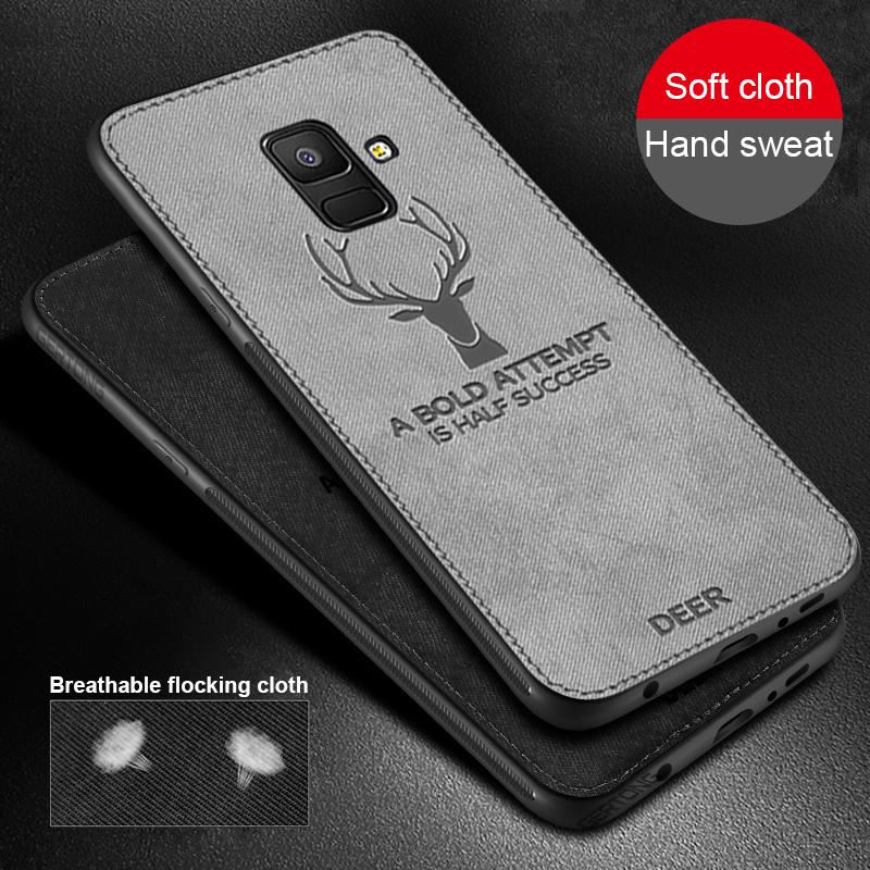 Deer Cloth Texrure Phone Case For Samsung Galaxy A8 A6 J4 J6 Plus 2018 J5 J7 J3 2017 Note 9 8 S8 S9 S10 Plus S10e Business Cover