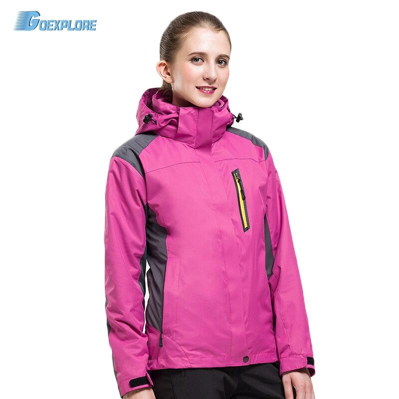 ФОТО Winter 2 pieces Jacket Ilinner Fleece Jackets Hiking Waterproof Windproof Thermal Outdoor Coats camping jacket for womens