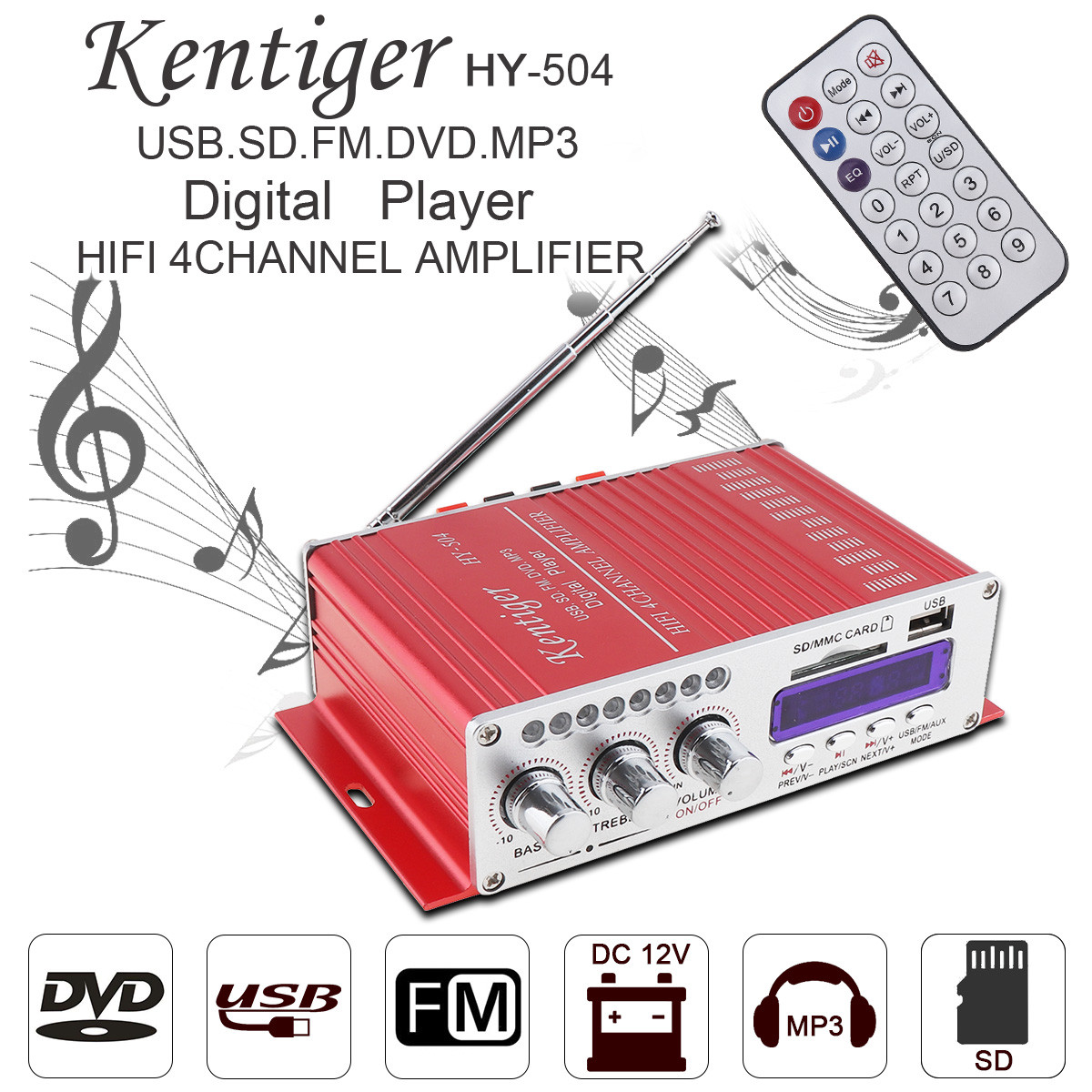 HY-504 4CH HI-FI Car Audio High Power Amplifier FM Stereo Radio Player Support S