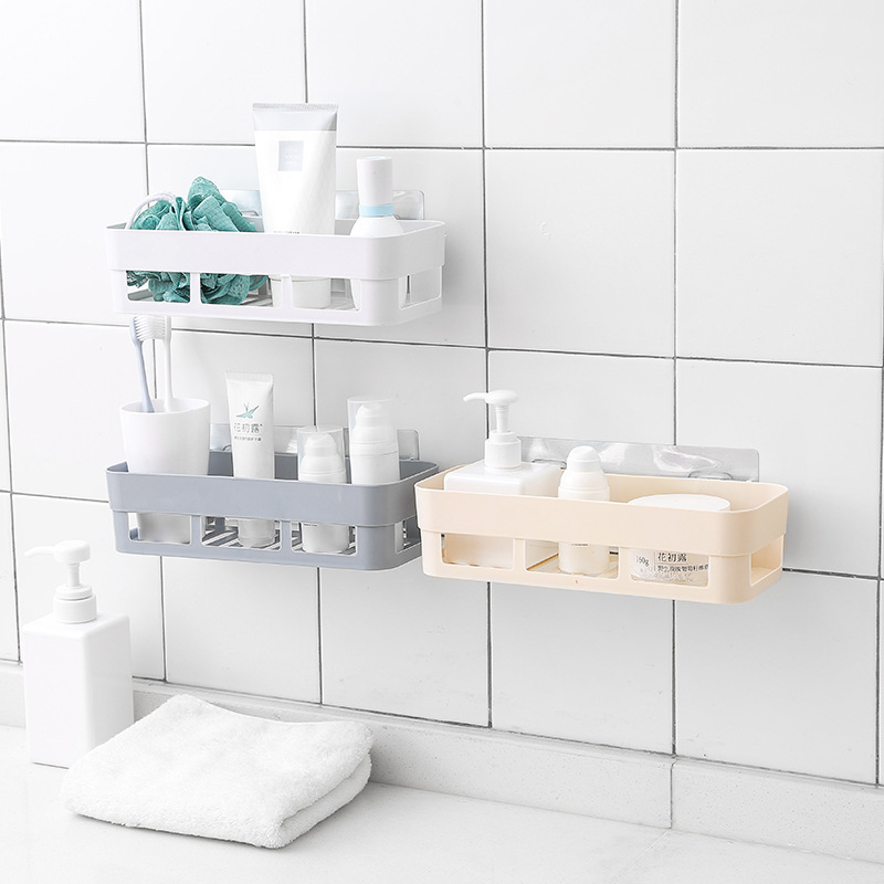 Bathroom shelf plastic bathroom vanity bathroom storage rack no trace stickers home decoration bathroom accessories(4 piece)
