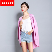 Zocept Spring New Women Cashmere Blended Sweater Fashion Solid Color V Neck Full Sleeved Knitted Long
