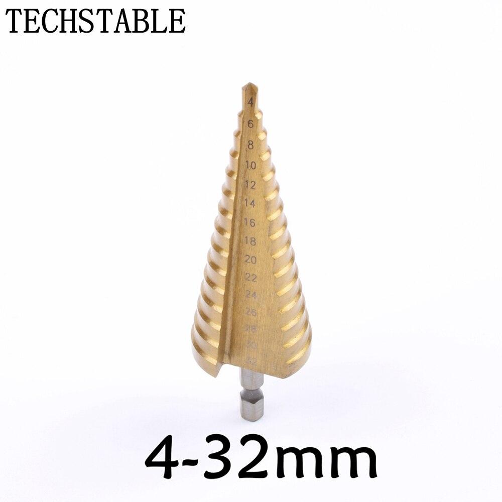 Hex Titan Schritt Cone Drill Bit Loch Cutter 4-32mm HSS 4241 Für Blatt Metall Stahl Holzbearbeitung Holz metall TECHSTABLE