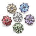 5 cores relógios das mulheres de cristal 18mm de metal botão de pressão para pulseiras de couro M637 uma direção braçadeira DIY jóias esterlina