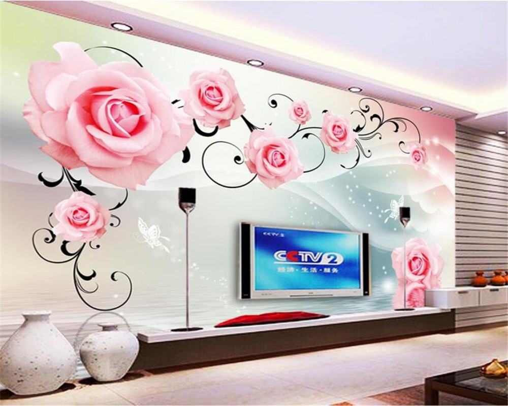 beibehang wallpaper Roses reflection television background wall decoration living room wedding room background photo wallpaper