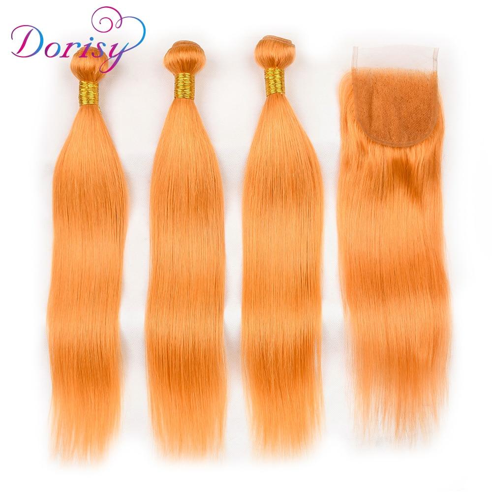 Dorisy Pre Colored Brazilian straight Human Hair Bundles with Lace Closure Free Part 144# Non Remy Hair 3 Bundles with Closure