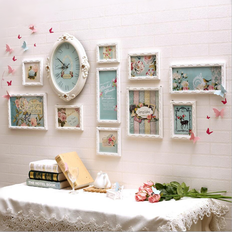 Clock design warm wall hanging family photo frame home decor wooden wedding casamento pictures Home decoration photo frames
