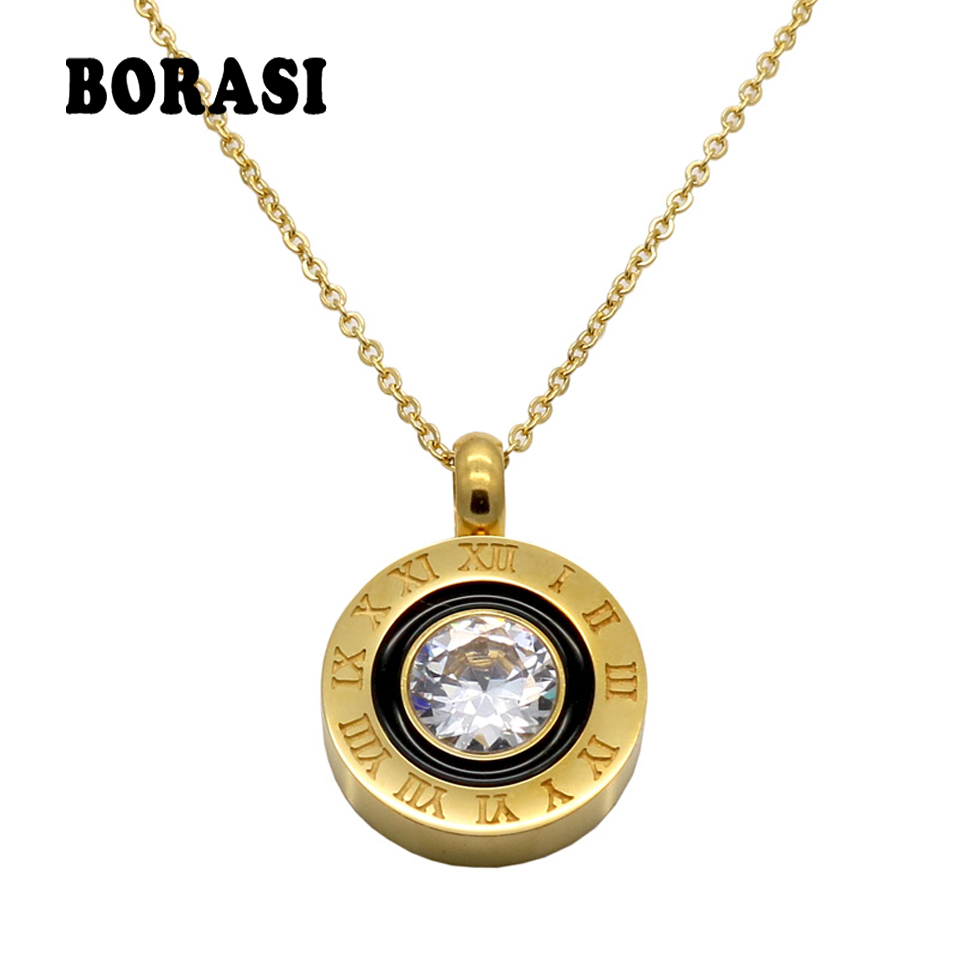 купить Fashion Womens Necklaces Jewelry Charms Crystal Roman Letters Necklace Gold Color Cubic Zirconia Chain Necklaces & Pendants по цене 284.91 рублей
