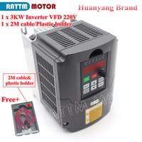 ЕС/RU доставки! 3KW 4HP переменной частоты VFD инвертор 220 В регулятор скорости и 2 м кабель удлинитель и Пластик держатель