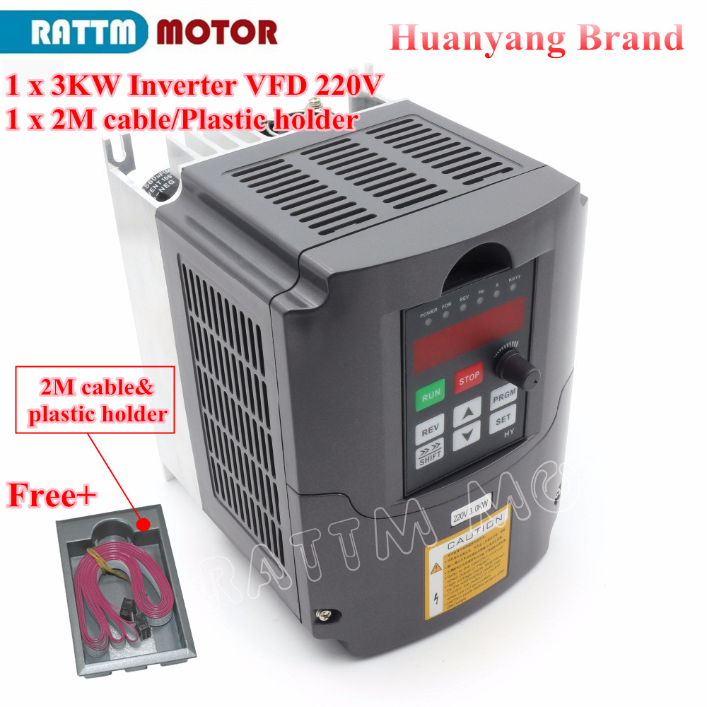 EU/RU Delivery! 3KW 4HP Variable Frequency Drive VFD Inverter 220V speed controller&2M Extension cable&Plastic holder hot sale 1 year warranty for the pm498 st973401ss 10k rpm sas 2 5 73gb hard disk drive new