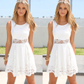 Summer dress 2017 sexy mulheres mangas casual praia curto dress sólido branco mini lace dress vestidos plus size