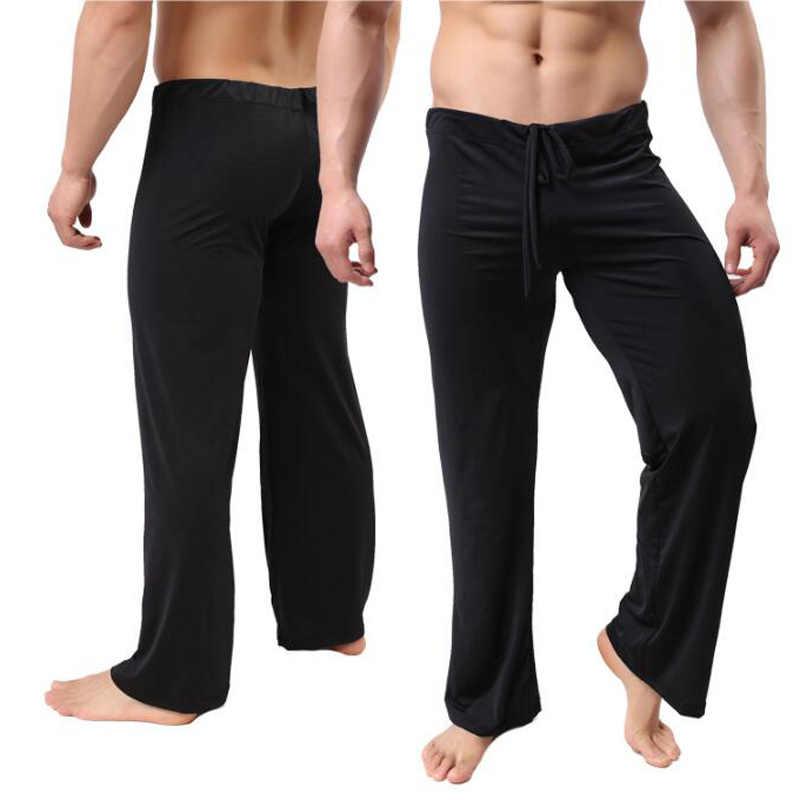 Homens em casa calças de cintura baixa ver através de transparente solto escorregadio pijama calças masculino gelo seda loungewear lingerie sexy gay wear