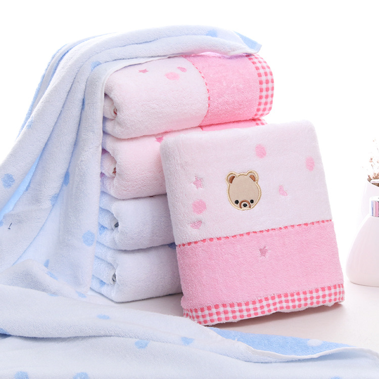 Good quality 70*140 cotton bath towel Cute Bear head pattern super soft good water-absorbent Embroidered towel for adults
