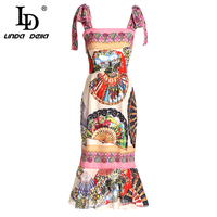 LD LINDA DELLA 2018 Fashion Runway Summer Dress Women's Spaghetti Strap Vintage Floral Print Sexy Mermaid Sheath Party Dress