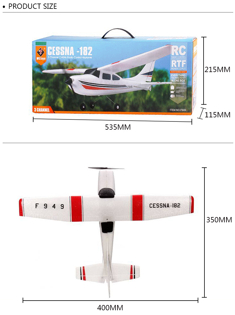 F949-3CH-RC Airplane-Aircraft Quadcopter-RC Toys-size