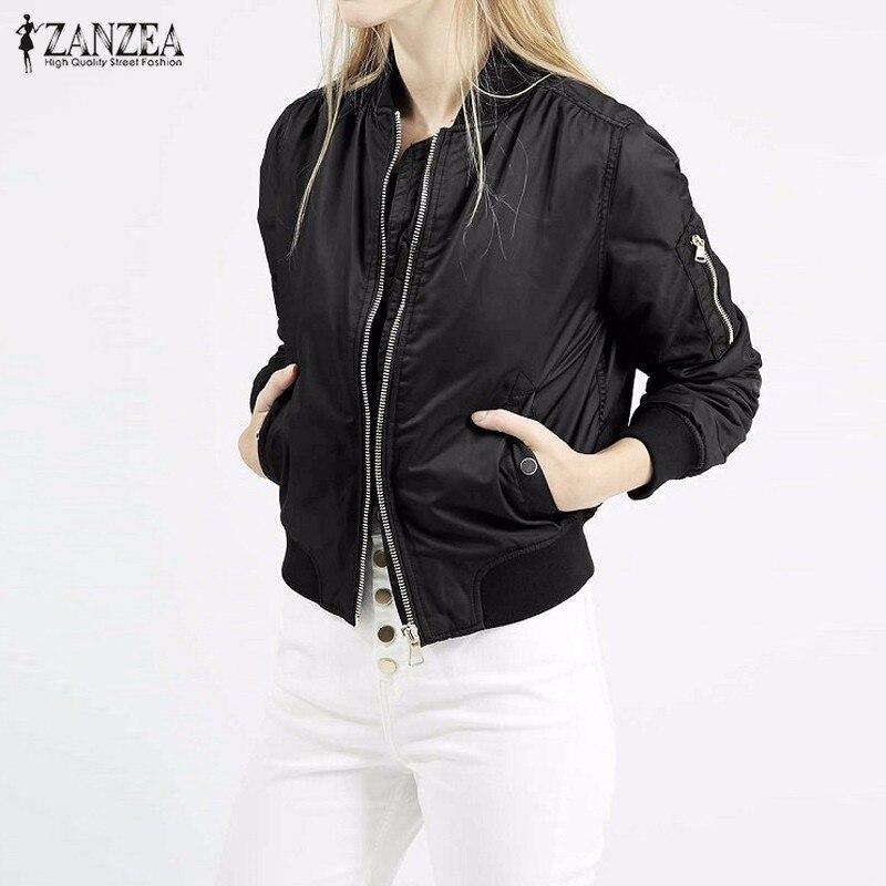 Zanzea 2017 mujeres del invierno del otoño vintage bombardero chaquetas casuales