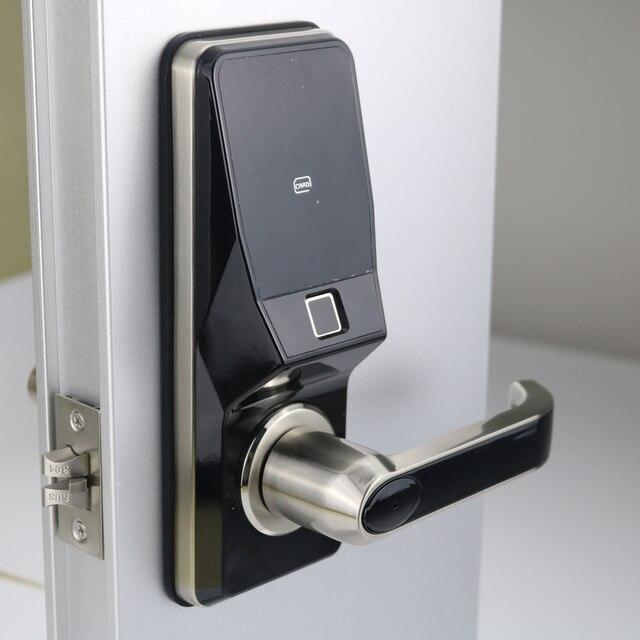 อิเล็กทรอนิกส์ลายนิ้วมือประตูล็อคดิจิตอลสมาร์ทประตูปลดล็อคโดยลายนิ้วมือ,รหัส,การ์ด, และกุญแจ 2 ใบ
