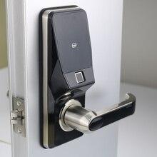 Serrure de porte numérique intelligente à empreinte digitale, déverrouillage par empreinte digitale, Code, carte et clé mécanique à 2 cartes