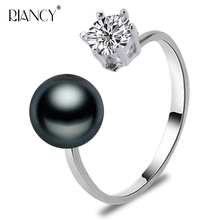Fashion black Pearl Jewelry natural rings retro Freshwater charm for women with wedding gift