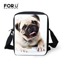 FORUDESIGNS Women Small Messenger Bag Cute 3D Pug Dog Woman Cross-body Bag Brand Ladies Flag Handbag For Girls Mochila Infantil