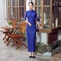 Blue New Arrival Chinese FemaleTradition Qipao Lace Slim Long Cheong-sam Tang Suit Dress Vestido De Festa Size S M L XL XXL