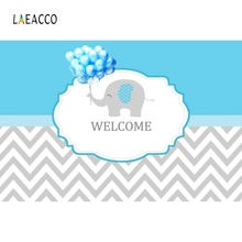 Laeacco Balloons Elephant Welcome Baby Children Portrait Cartoon Scene Photography Background Photographic Photo Backdrop Studio