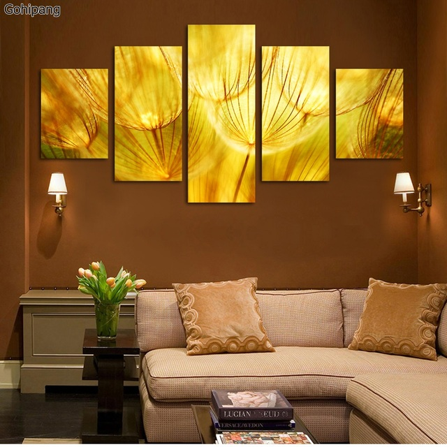 5 Panel Wall Art Gold flower Oil posters On Canvas Quartz crystal ...
