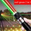 10000m vermelho + verde laser vista 2 em 1 à prova dwaterproof água de alta potência laser 303 ponteiro metal ajustável lazer caneta para caça acampamento