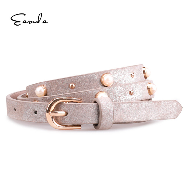 Earnda de cinturones para mujer de cuero, cinturón vaqueros de diseño de lujo de las mujeres Correa Delgado vestido fiesta Cinturón brillante