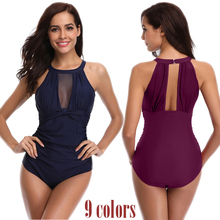 Sexy Mesh Swimsuit One Piece Swimwear Women Plus Size Bathing Suit Push Up Monokini 2019 Dot Bather Female Beach Swimming Suits цена