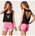 Blanco, negro s,ml xl, xxl, 3XL 2016 de las nuevas mujeres Sexy Crop Tops Camisetas sin respaldo corazón más Casual dama Camisetas Camisetas y Tops