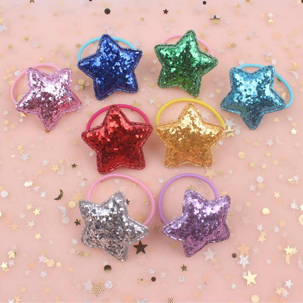 2019 new Fashion Geometric five-pointed star girls Elastic Hair Bands Violet Children Head rope Hair accessories for kids 1pcs