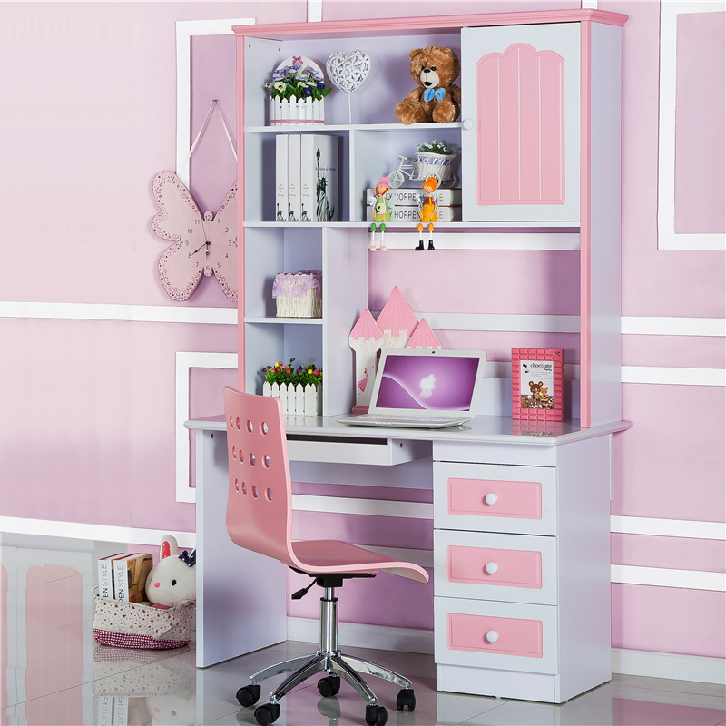 Continental corner straight girl pink desk combination ...