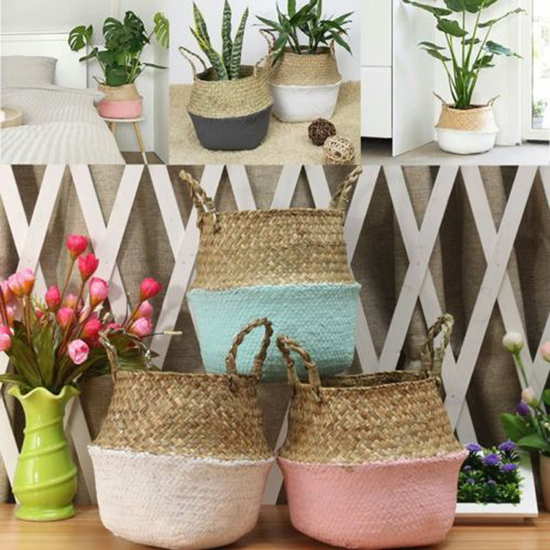 Mini Bamboo Storage Baskets Foldable Laundry Straw Patchwork Wicker Rattan Seagrass Belly Flower Pot Planter Handmade Basket
