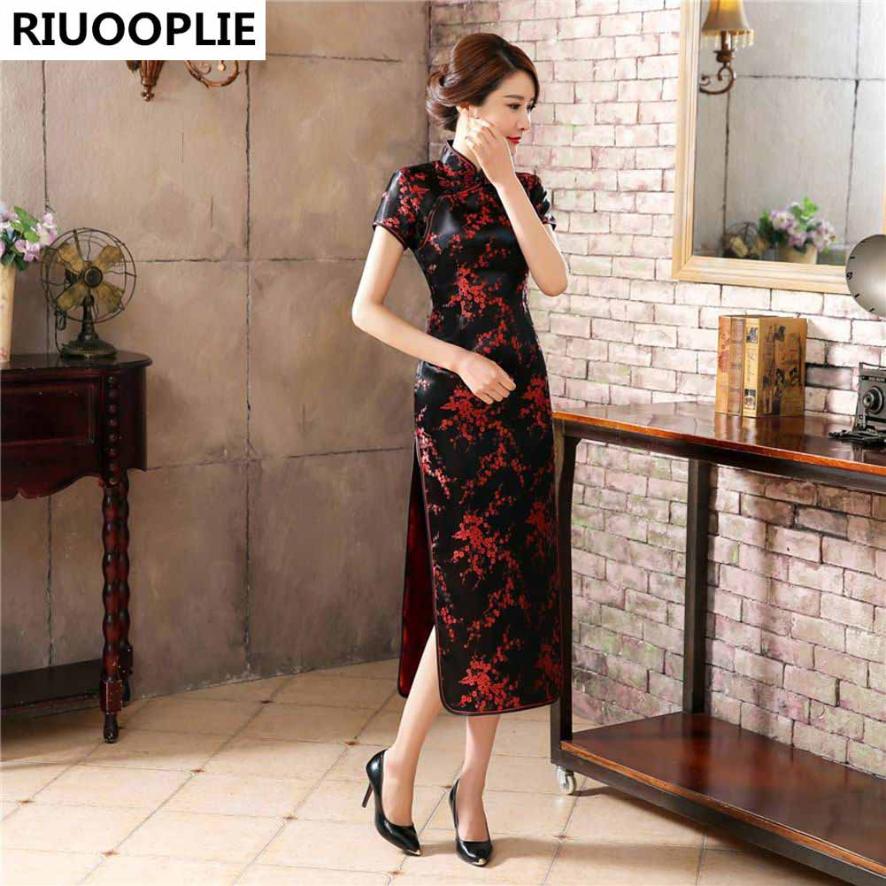 RIUOOPLIE Style Chinois Traditionnel Robe Femmes Long Cheongsam - Vêtements nationaux - Photo 2