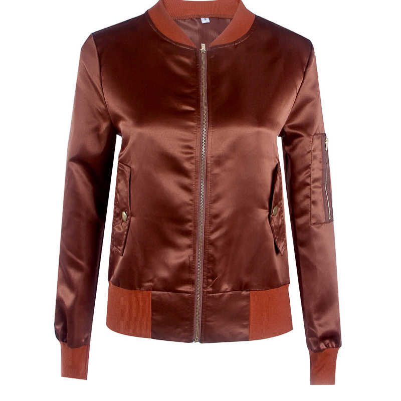 Атласная короткая куртка-бомбер женская осенняя с длинным рукавом тонкий Простой пиджак пальто Верхняя одежда на молнии черный уличная верх от куртки-парки женские