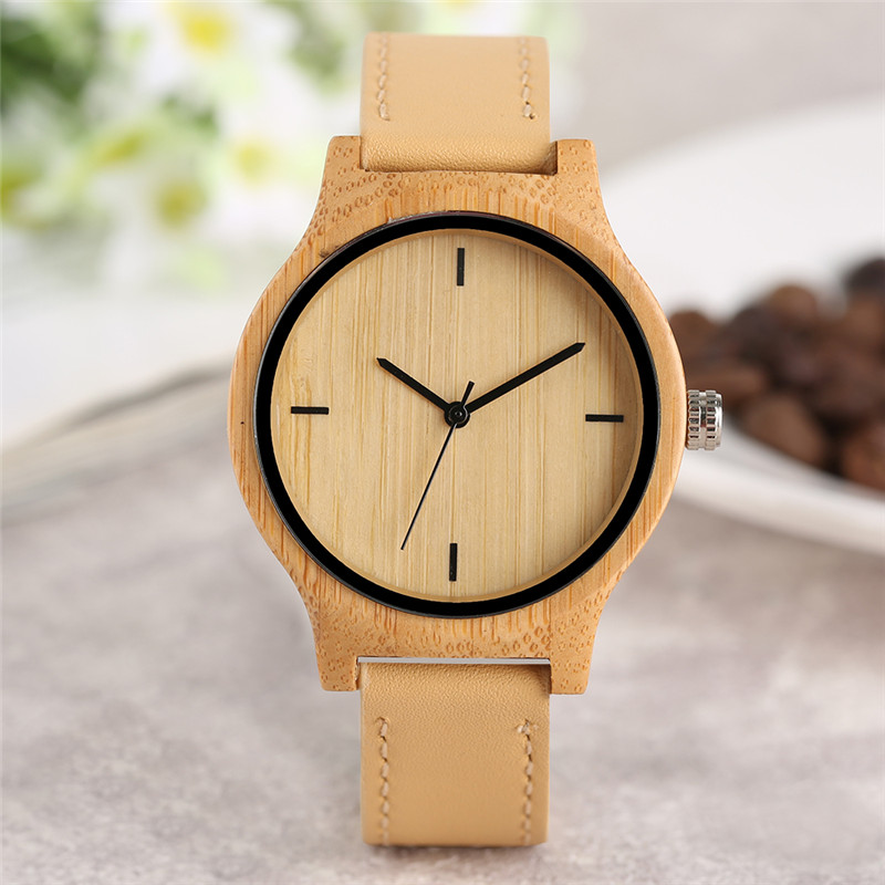 Modern Wooden Watch Handmade Bamboo Case Concise Dial Classic Quartz Wristwatch Stylish Male Female Clock Special horloge hand made mens wooden bamboo quartz watch black genuine leather watchband simple unique modern wristwatch gift for male female