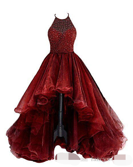 Halter High Low Ball Gown Dark Red Tiers Sexy Special Occasional Dresses Evening Dress 2019 abiye robe de soiree Prom Dresses