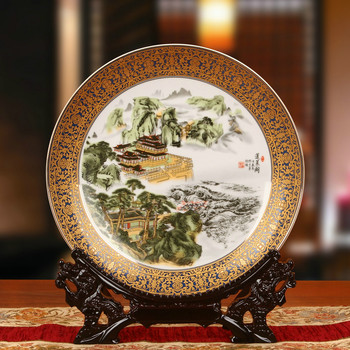Chinese Style 10 inch Ceramic Decoration Round Sitting Plate Classical Landscape Penglai Pavilion Pattern Gold Edge Plate