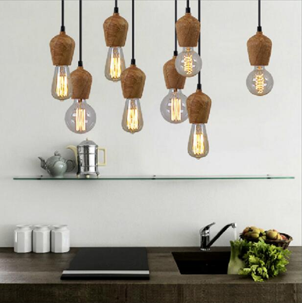 European 100 wood pendant lights vintage black cord pendant lamp e27 edison bulb japan rural lights suspension hanging lamparas in pendant lights from