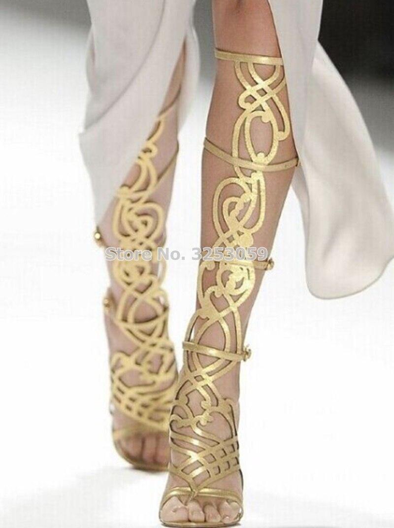 Golden Mirror Hollow Out Women Knee High Sandal Boots Thin High Heel Best Seller Shoes Laser Cut Show Shoes Cage Dress Boots scallop laser cut dress