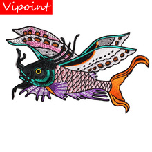 embroidery fish patches for jackets,animal badges for jeans,appliques for backpack,A325 embroidery round birds patches for jackets fish badges for jeans appliques a133