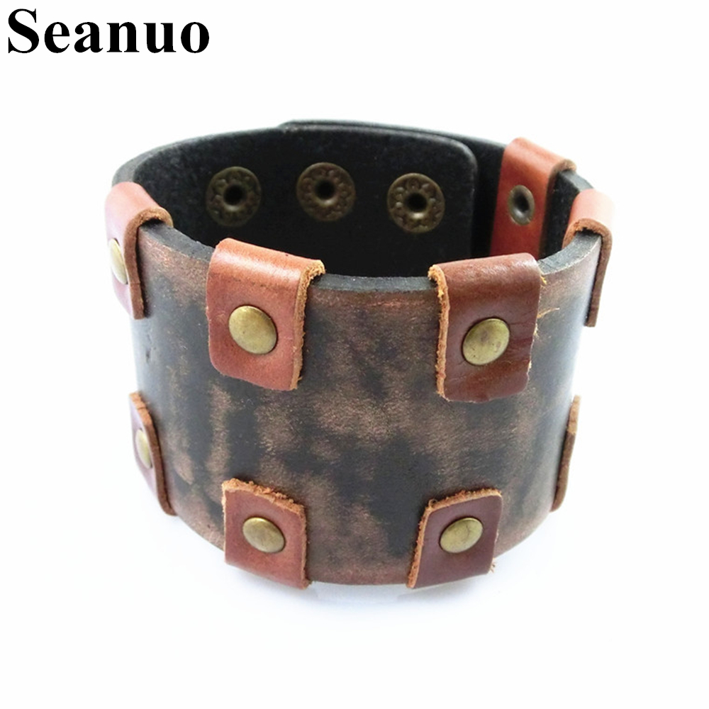 Seanuo 4.5 см широкий серый и коричневый смешанный Цвет Пояса из натуральной кожи Для мужчин браслет модные панк-рок мужской хип-хоп браслет Бра...
