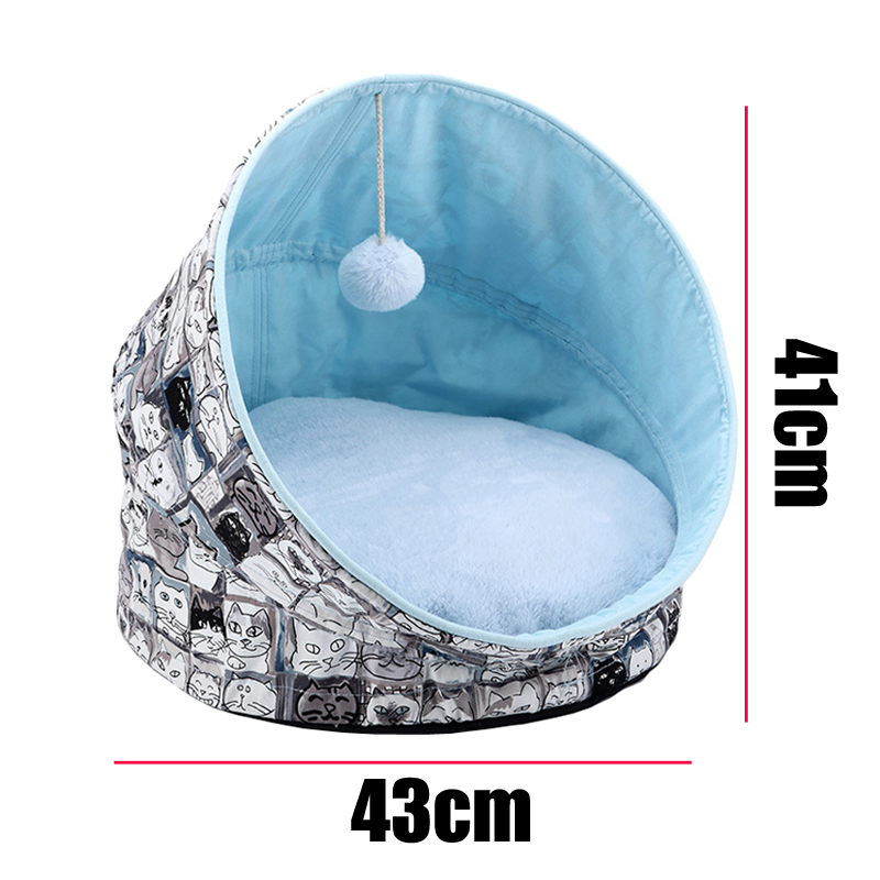 High Quality Plush Cat Bed Foladble Self Warming Indoor Cats Dog House with Removable Mattress Puppy Cage Lounger in Cat Beds Mats from Home Garden