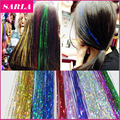 1pc 16Inch BellaVia Tinsel Hair Extensions Bling String 3D Rainbow  Party Clip In Hair Extensions