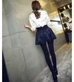 2015 Nueva moda de encaje falda de las mujeres de las polainas para el invierno de alta calidad Polainas de las mujeres con forro polar pantalones de dama falda negro y marino