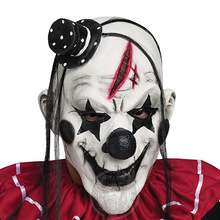 цена на Halloween mask scary clown latex mask full face mask big mouth black hair nose cosplay horror masque adult ghost party for props