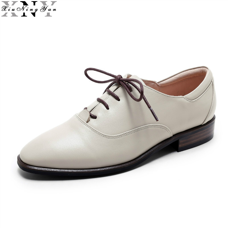 XiuNingYan Women Oxfords Genuine Leather Brogues Shoes Woman Flat Round Toe Handmade Women's Casual Flats Shoes British Style xiuningyan soft leather women shoes brogues lace up flat pointed toe patent leather white oxfords women casual shoes for women