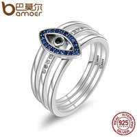 BAMOER Genuine 100 925 Sterling Silver Turkey Blue Eyes Faith Finger Rings For Women Wedding Engagement