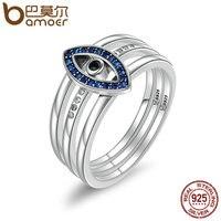 BAMOER Genuine 100 925 Sterling Silver Turkey Blue Eyes Faith Finger Rings For Women Wedding Engagement